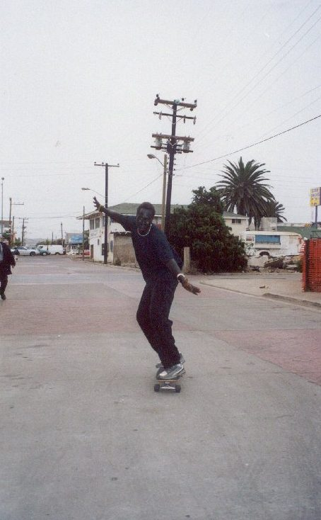Benjamin skateboarding in Rosarito Beach, Mexico location of Fox Studios.
