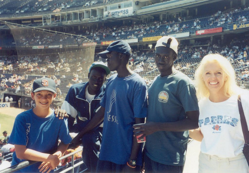 Cliff, Benson, Alepho, Lino, and Judy at Padres Game 2001